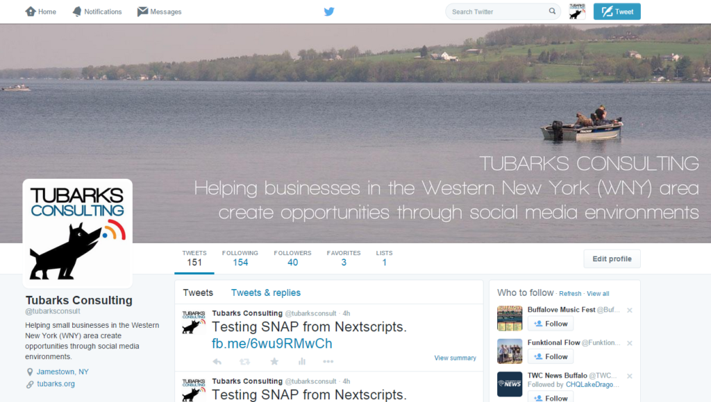 Tubarks Consulting Twitter page